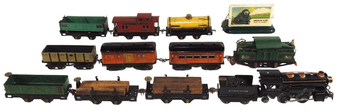 Toy train sets & billboard (13 pcs), all American