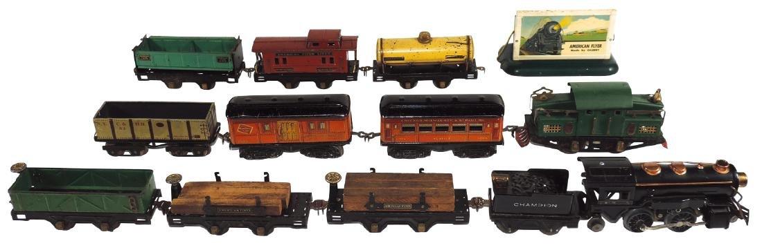 Toy train sets & billboard (13 pcs), all American