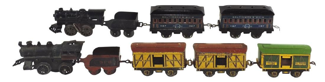 Toy trains (9 pcs), American Flyer, cast iron loco, 2