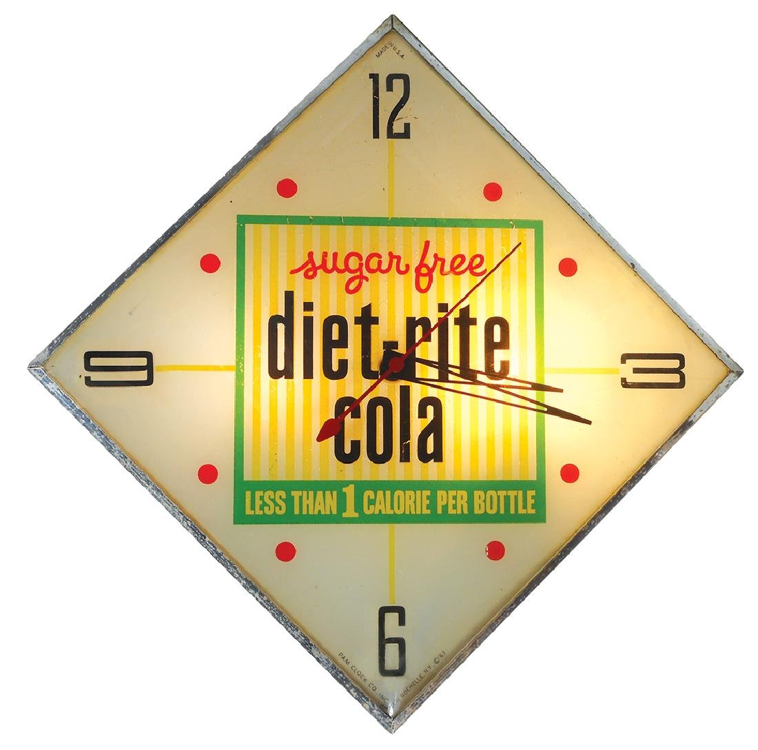 Soda fountain clock, diet-rite cola, mfgd by Pam Clock