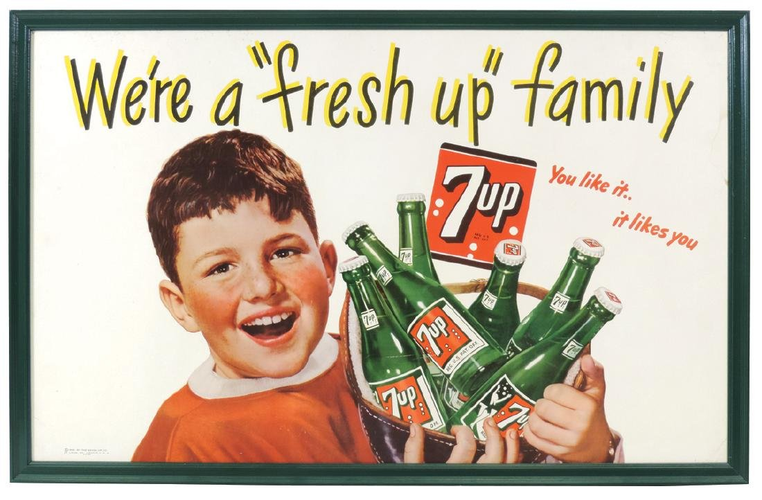 "Soda fountain signs (2), 7 Up We're a ""fresh up"""