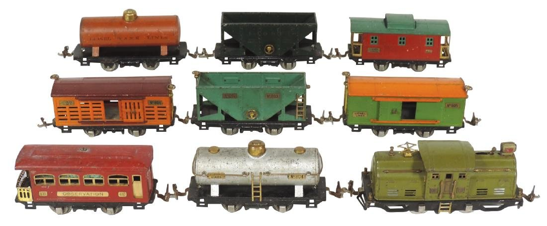 Toy train (9 pcs), Lionel #252 engine, #804, 2 #803,