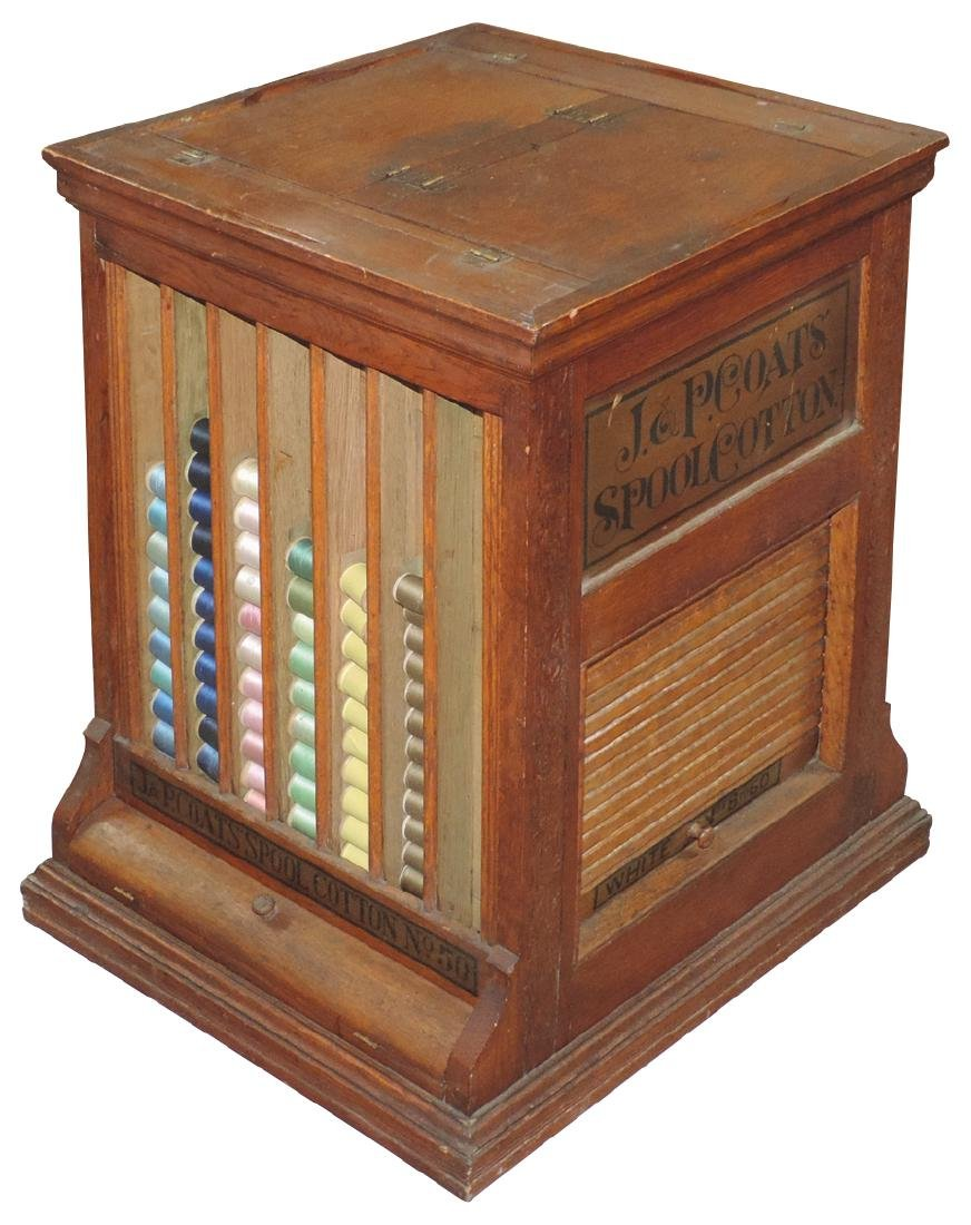 Country store spool cabinet, J.&P. Coats' Spool Cotton,