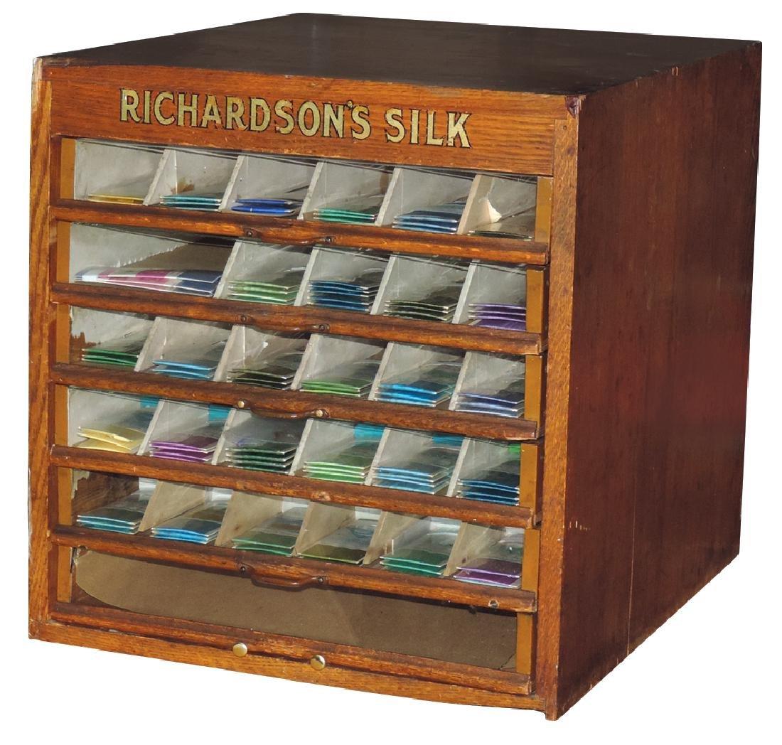 Spool cabinet, Richardson's Silk, oak 6-drawer w/glass