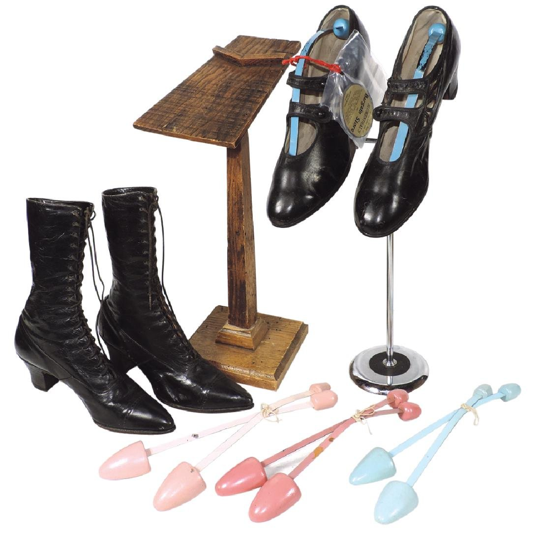 Shoe store display stands, shoes, adv mirror & shoe