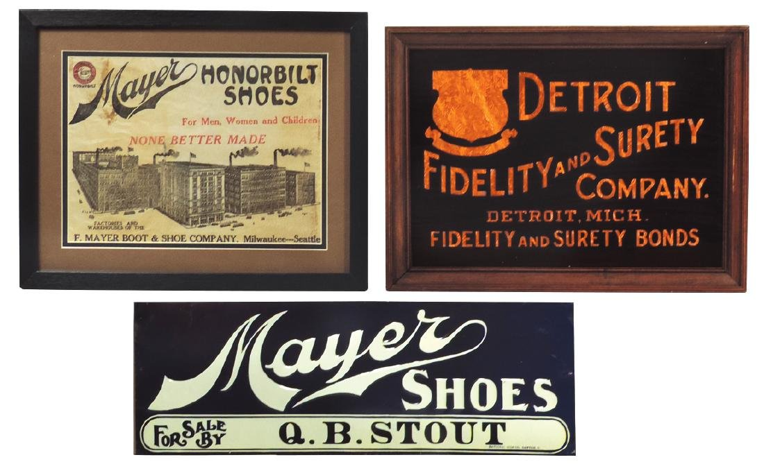 Advertising signs (3), Mayer Shoes Q B Stout, from