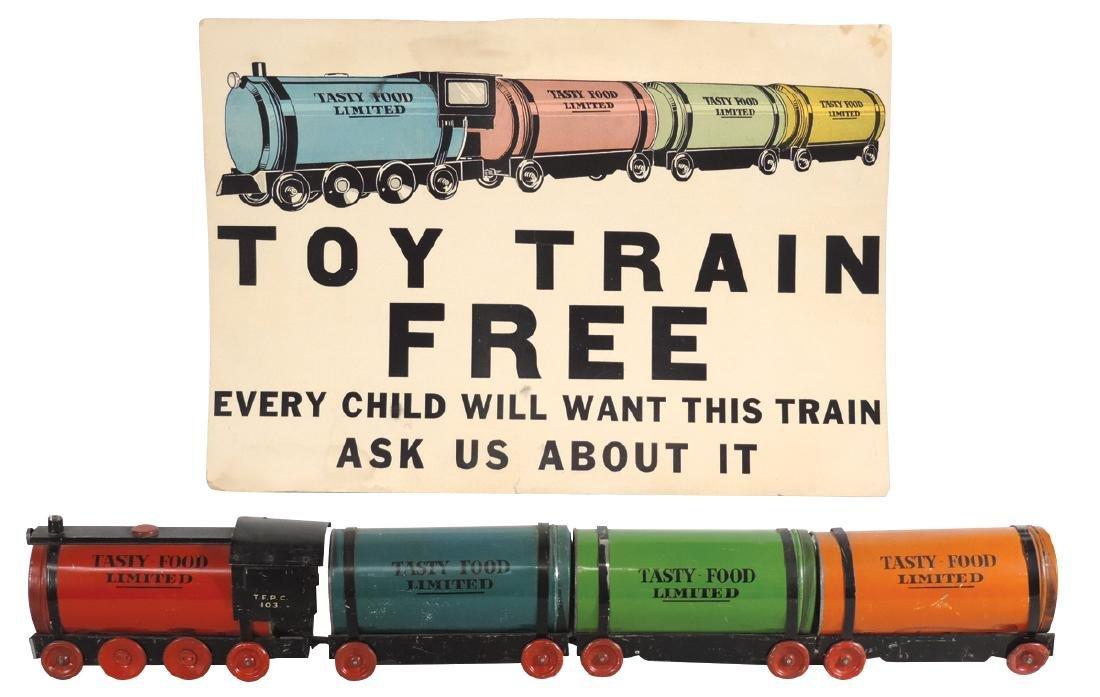Toy train & cdbd adv poster, Tasty Food Limited,
