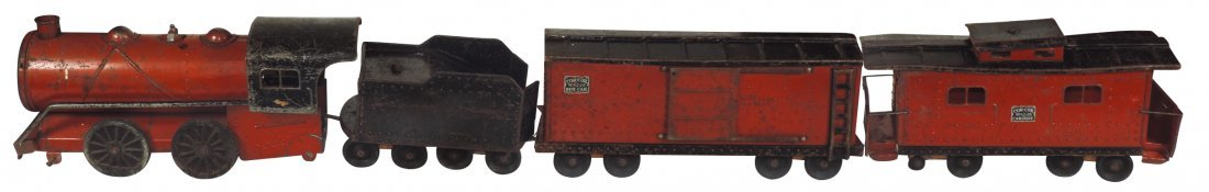 Toy train, Cor-Cor engine, tender, box car & caboose,