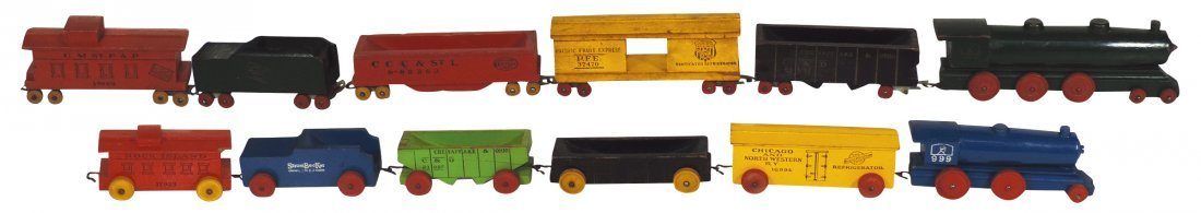 Toy trains (12 pcs), both wood,  engine, tender, 2 coal