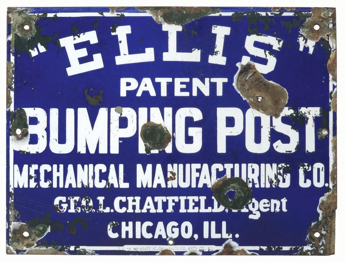 Train sign, Ellis Bumping Post, single-sided porcelain,