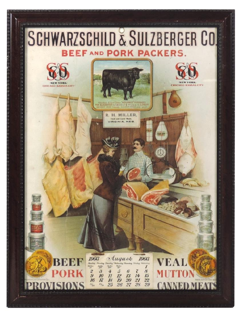 Butcher's calendar, Schwarzschild & Sulzberger Co. Beef
