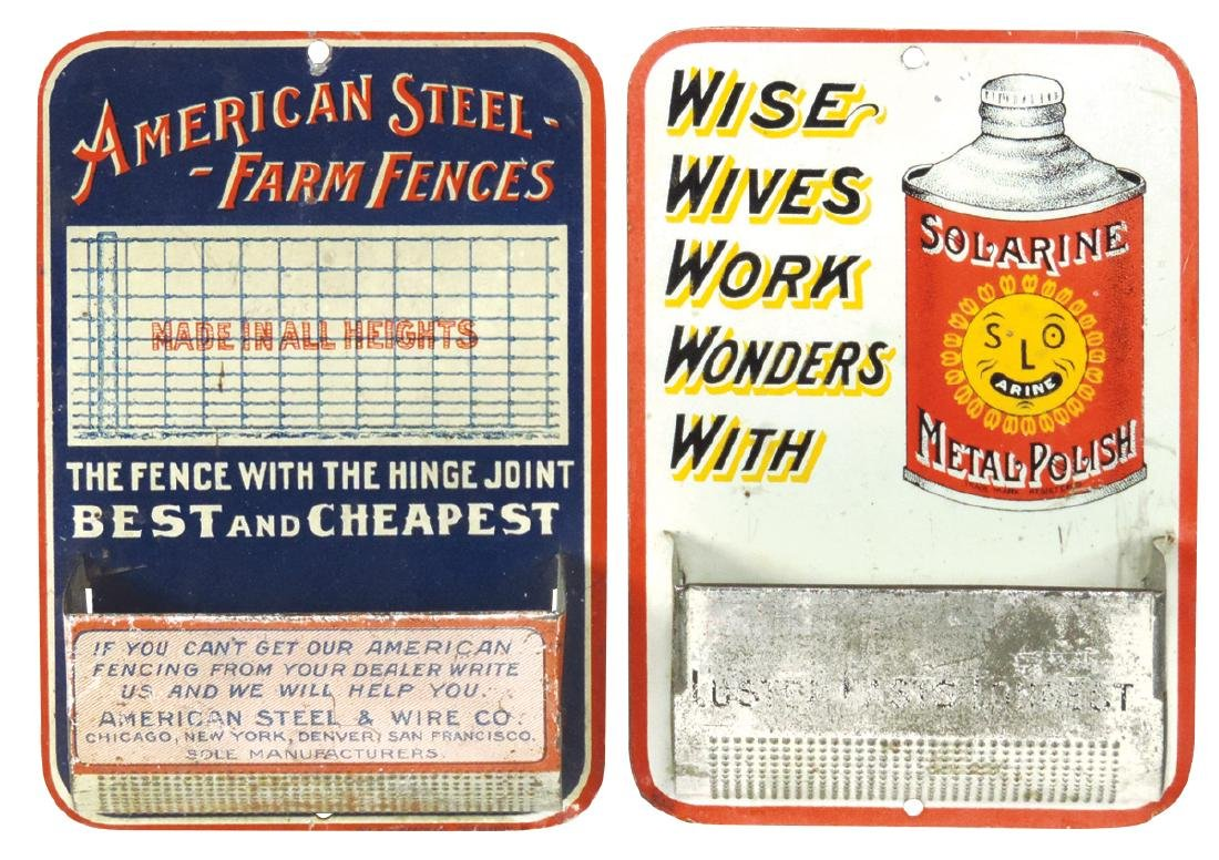 Advertising match holders (2), American Steel Farm
