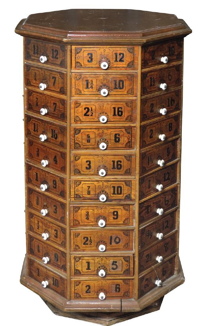 Hardware store revolving nut & bolt cabinet, oak