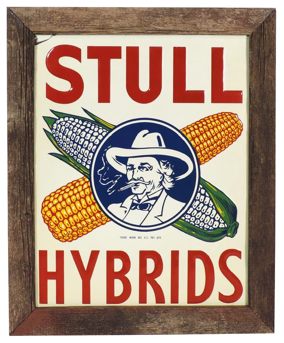 Seed corn sign, Stull Hybrids, colorful embossed metal