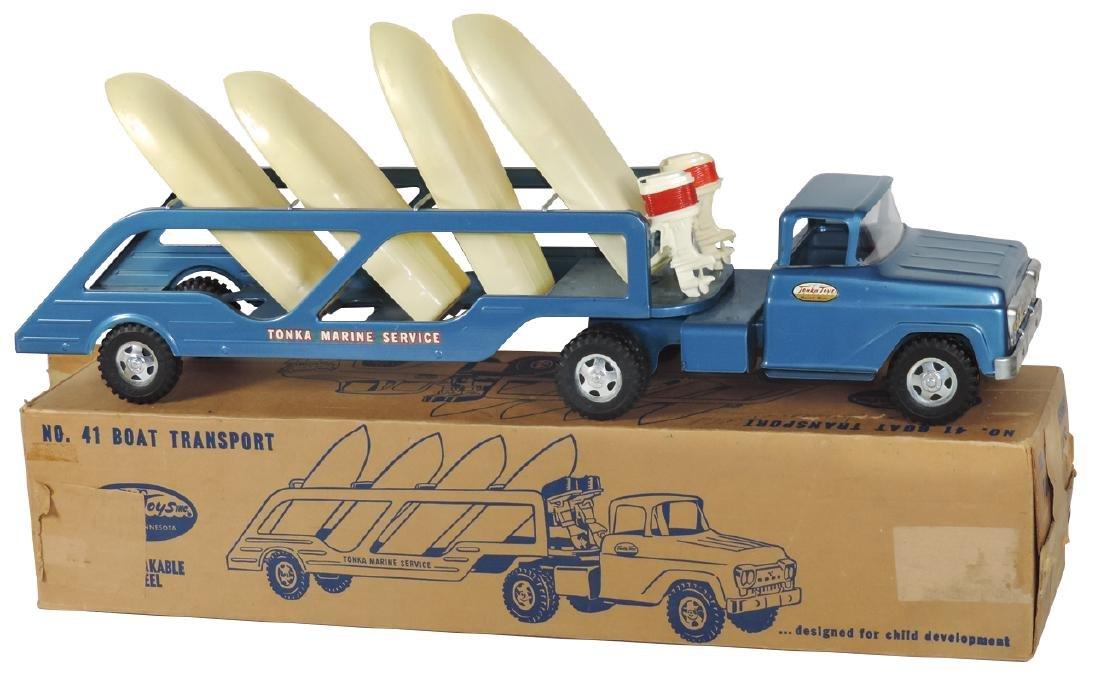 Toy boat transport, Tonka Toys No. 41 w/box, pressed