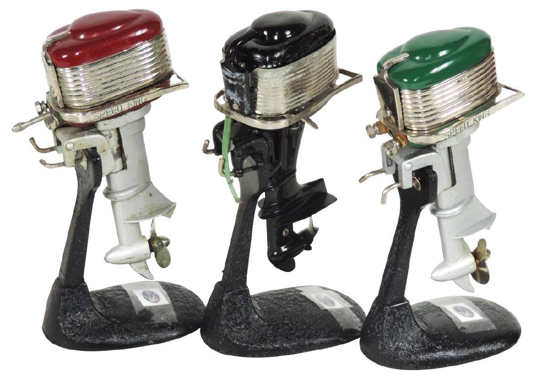 Toy boat motors (3), red & green Speed Kings & unmarked