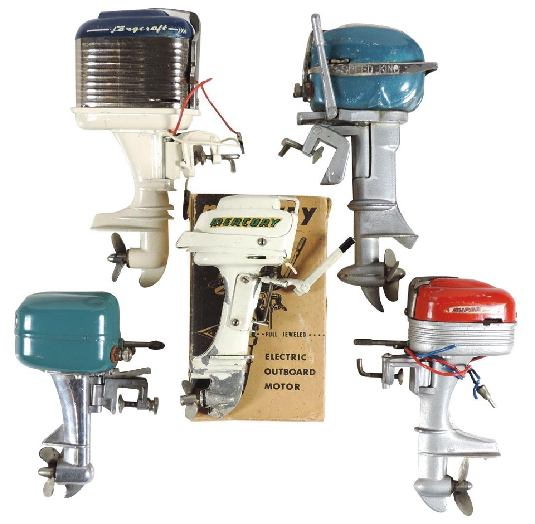 Toy boat motors (5), all metal, blue Rico Speed King,