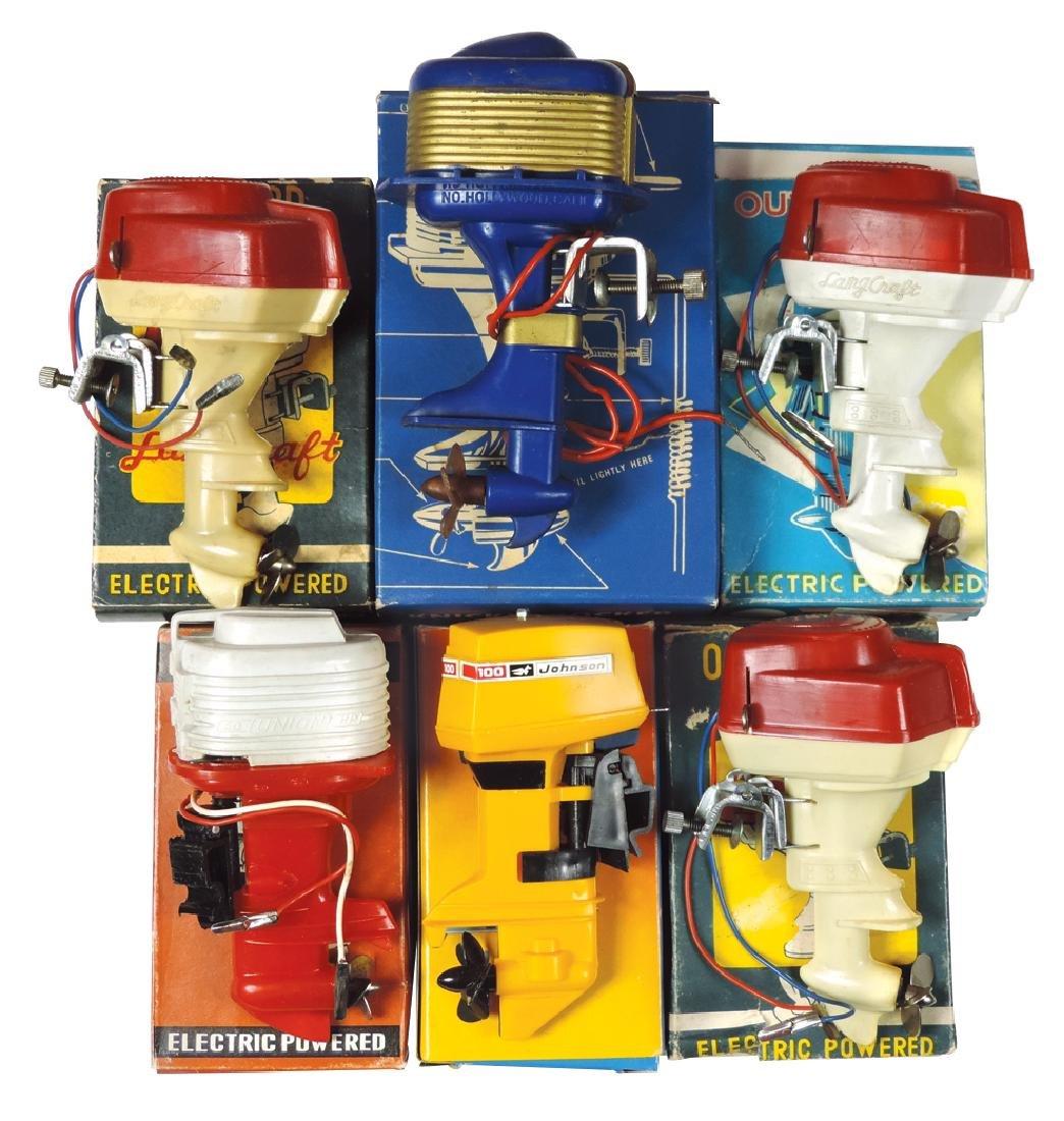 Toy boat motors w/boxes (6), Knickerbocker,