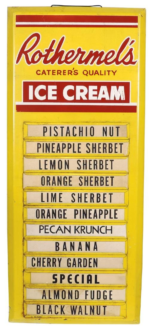 Ice cream flavor board, Rothermel's Caterer's Quality,