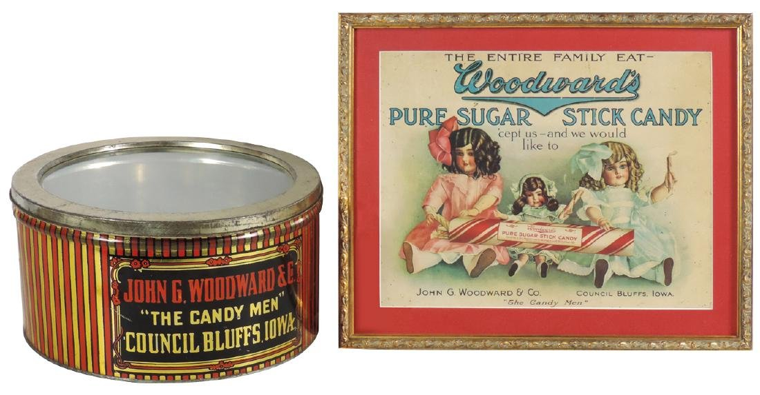 Country store candy sign & tin, John G. Woodward &