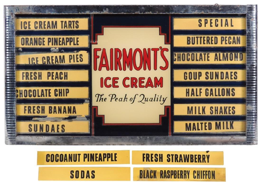 Ice cream flavor board, Fairmont's Ice Cream, reverse