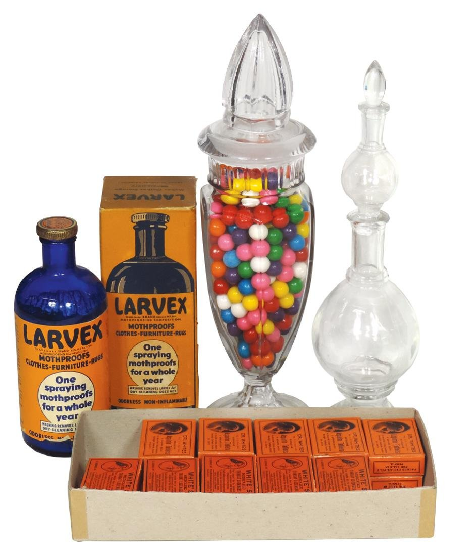 Apothecary & candy jars, 3-section hand-blown glass