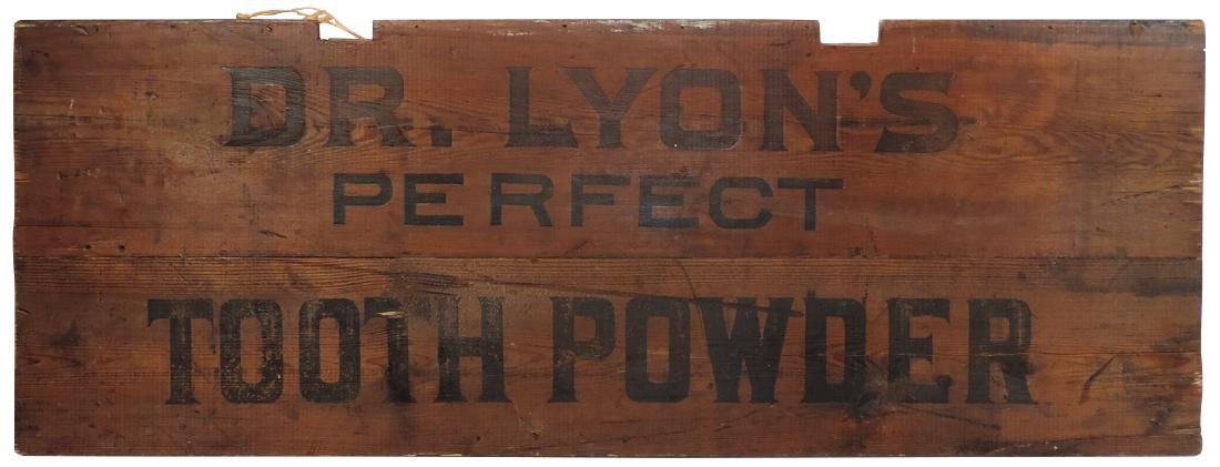Drug store sign, Dr. Lyon's Perfect Tooth Powder, pine