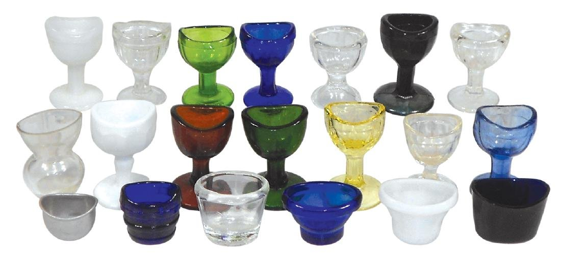 Drug store eye cups (20), assorted sizes, styles &