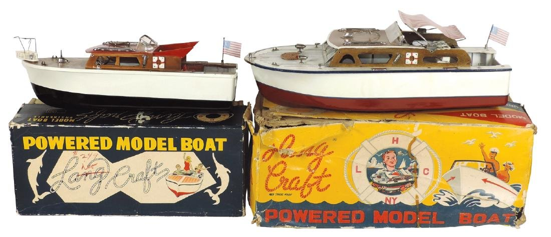 Toy boats (2) w/boxes, both Langcraft, wood & plastic