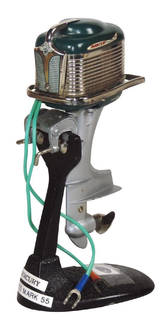Toy boat motor, 1955 Mercury Mark 55 on metal display