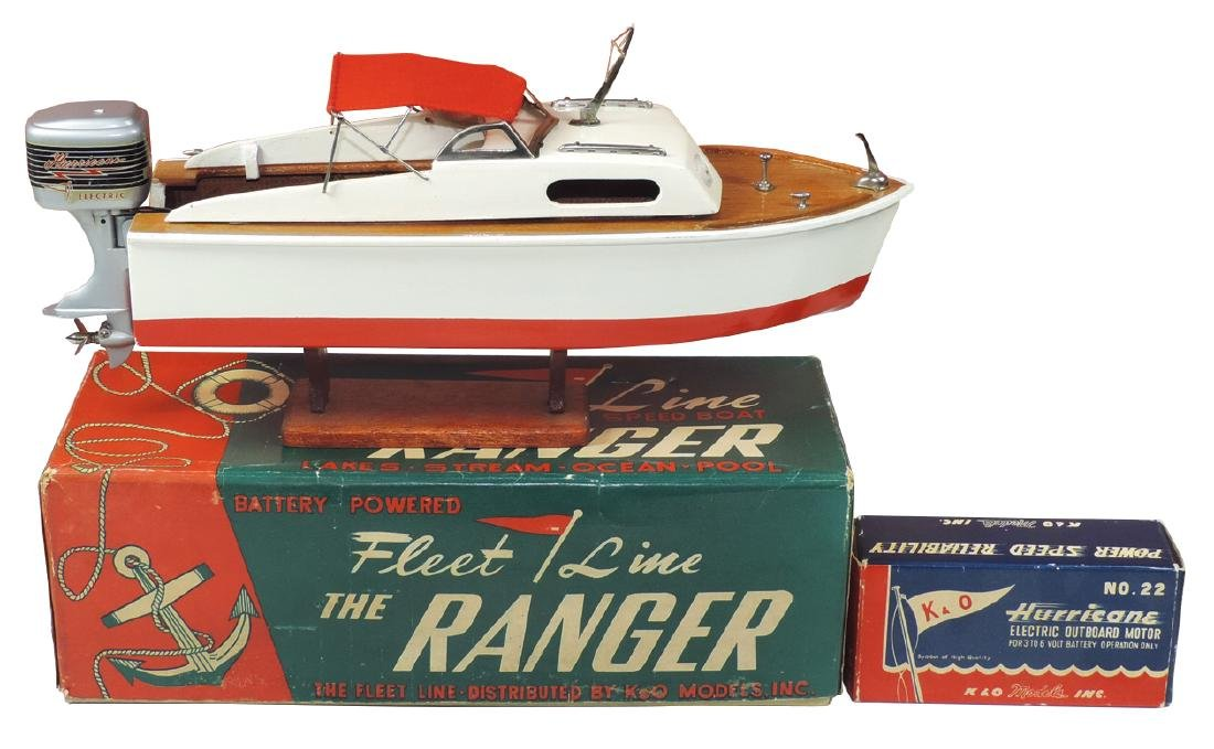 "Toy boat w/motor, Fleet Line ""The Ranger"", in orig box"