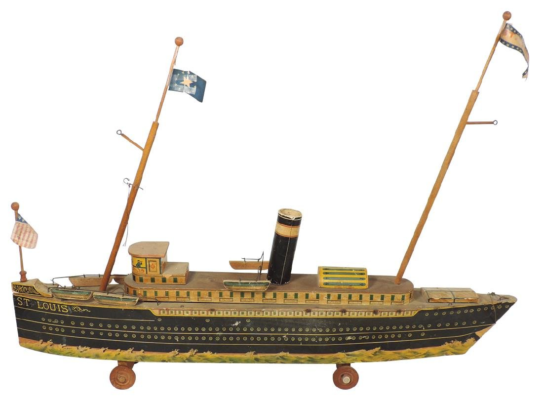 "Toy boat, A. Reed ""St. Louis"" Ocean Liner pull toy,"