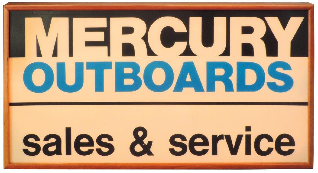 Outboard motor sign, Mercury Outboards sales & service,