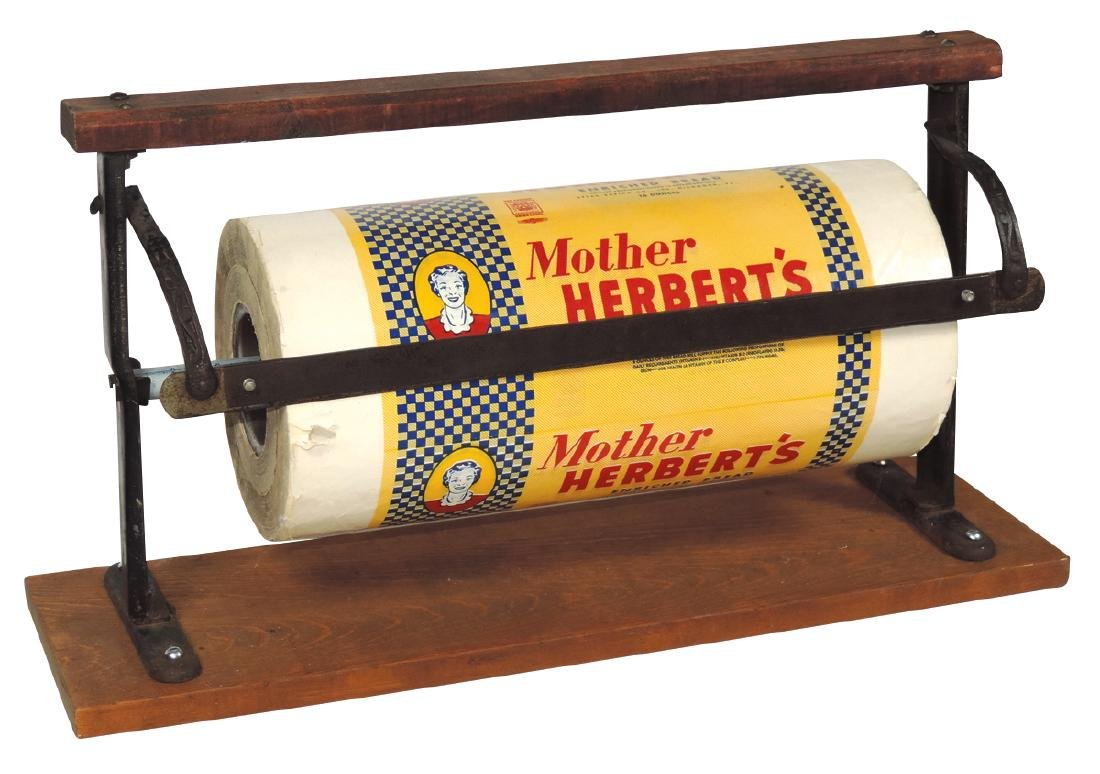 Country store wood/iron paper holder w/cutter & Mother
