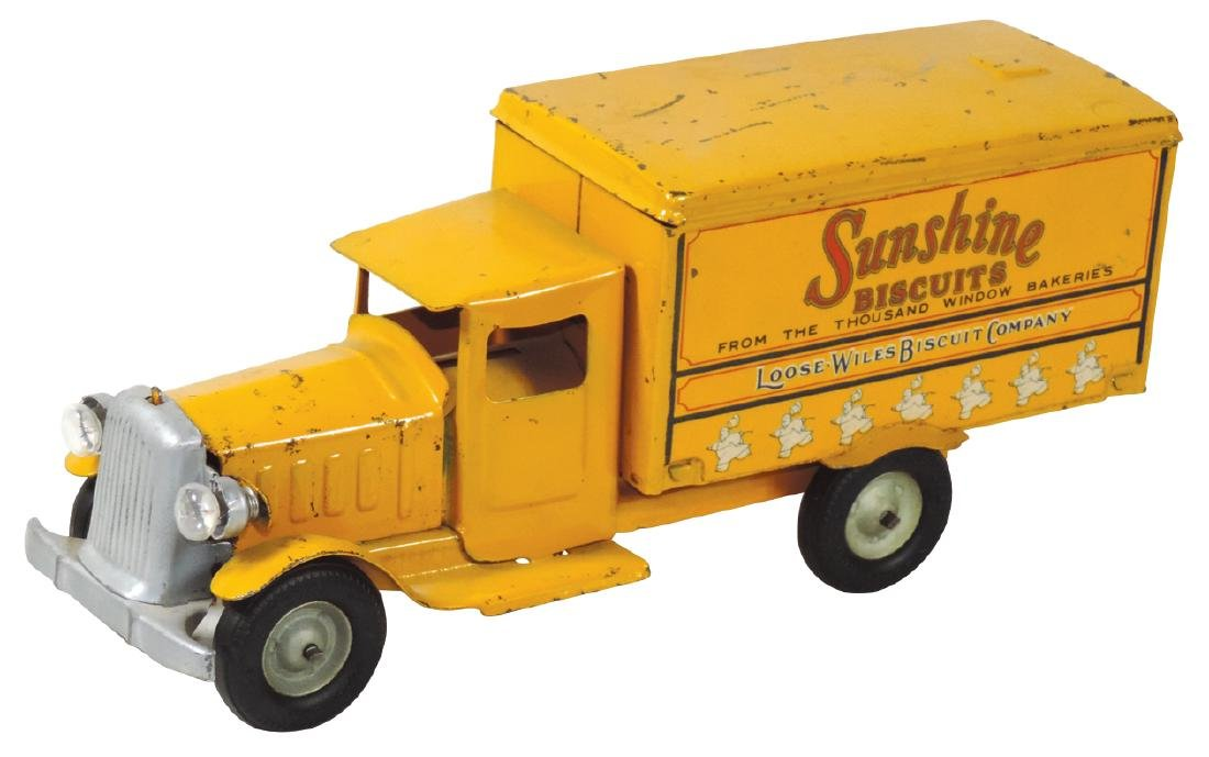 Toy delivery truck, Sunshine Biscuits, by the