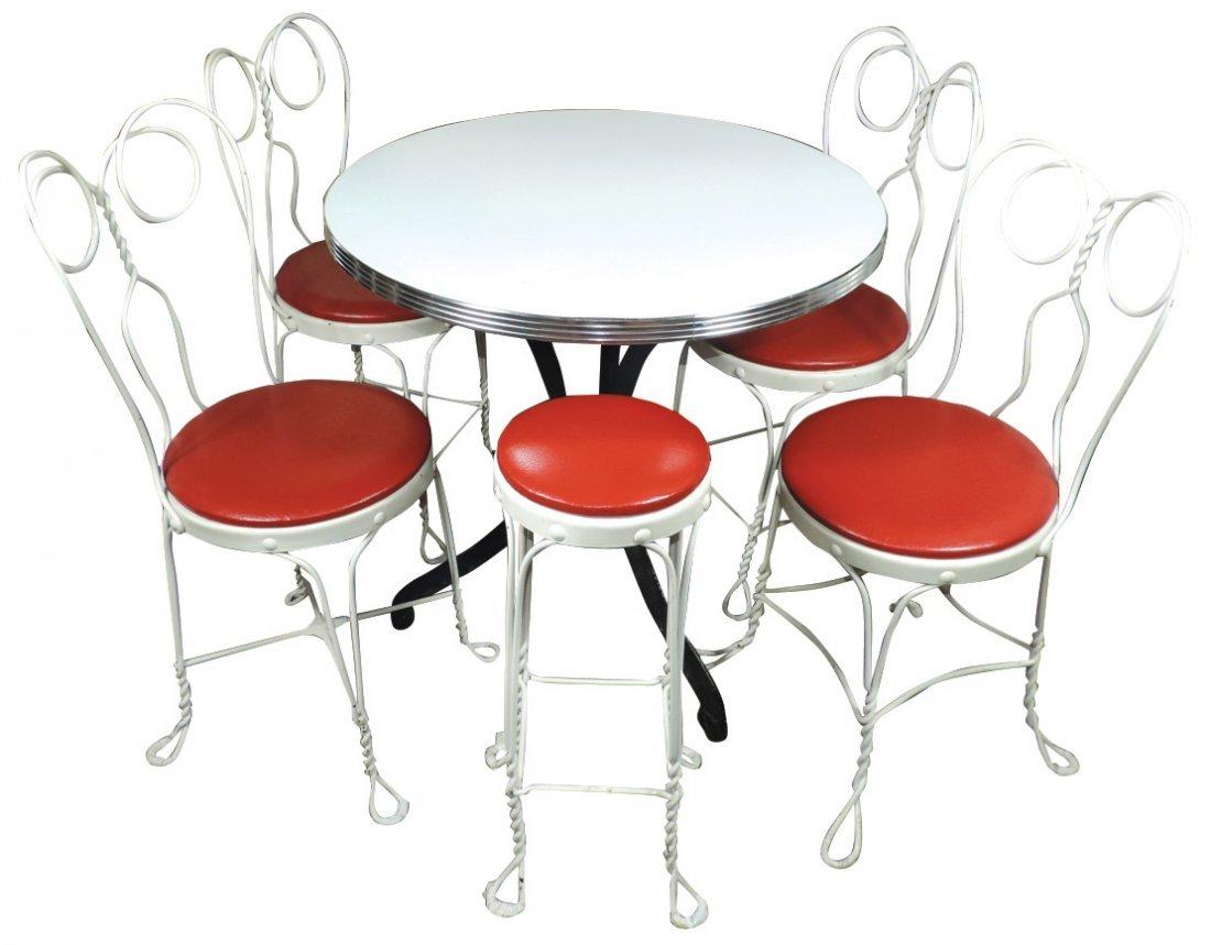 Soda fountain ice cream table, 4 chairs & stool,