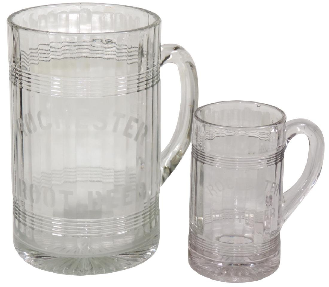Soda fountain pitcher & mug, Rochester Root Beer heavy