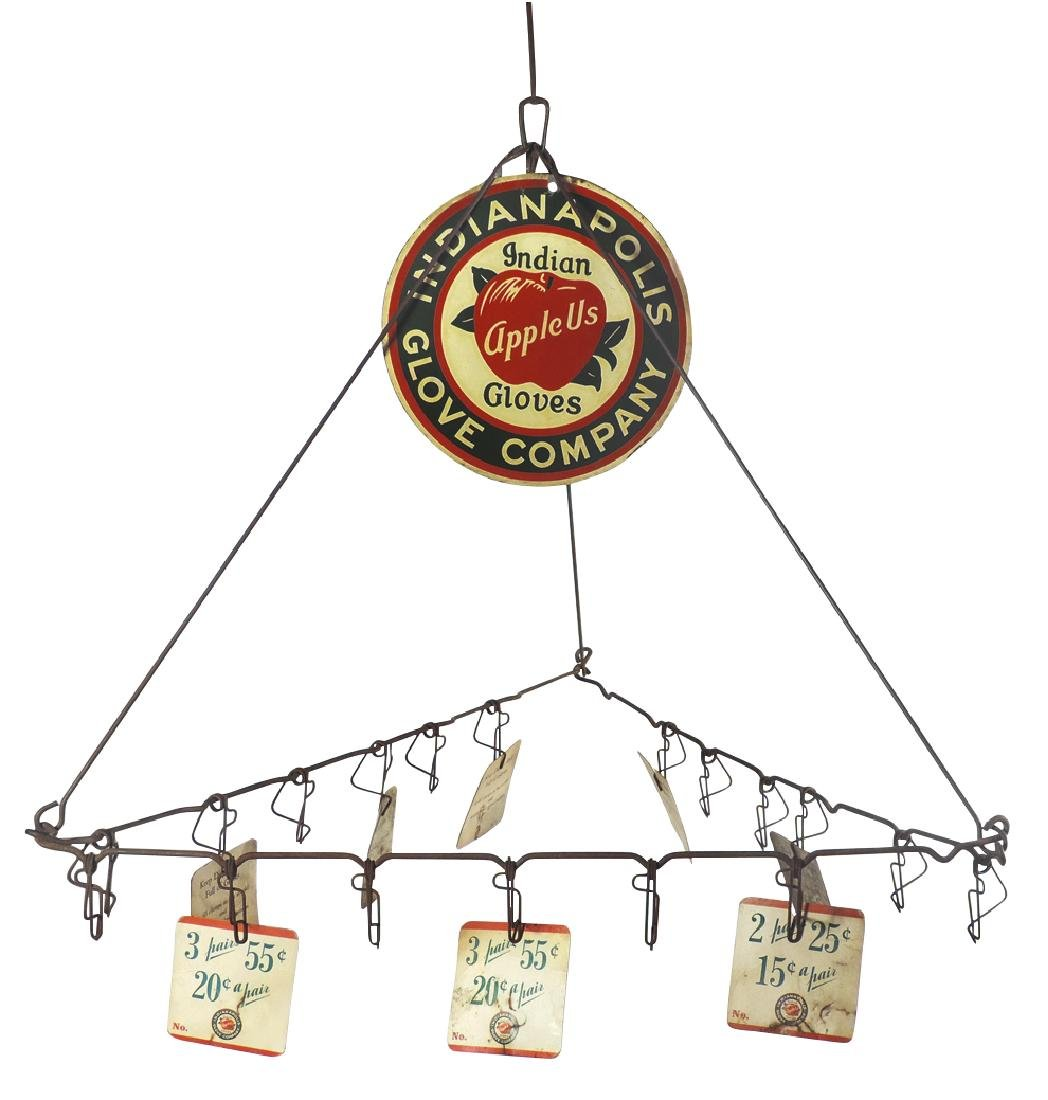 Country store Indianapolis Glove Co. hanging display,
