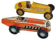 Toy race cars (2), Indy roadster #8, pressed steel &