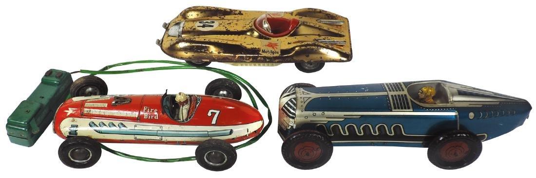 Toy race cars (3), Marx boat tail, SSN Japan Fire Bird