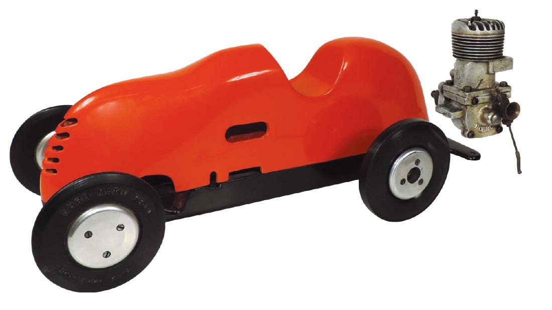 Toy race car, McCoy gas powered tether car w/Big Hornet