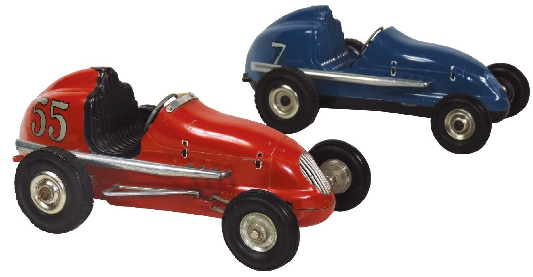 Toy tether race cars (2), both mfgd by Ohlsson & Rice