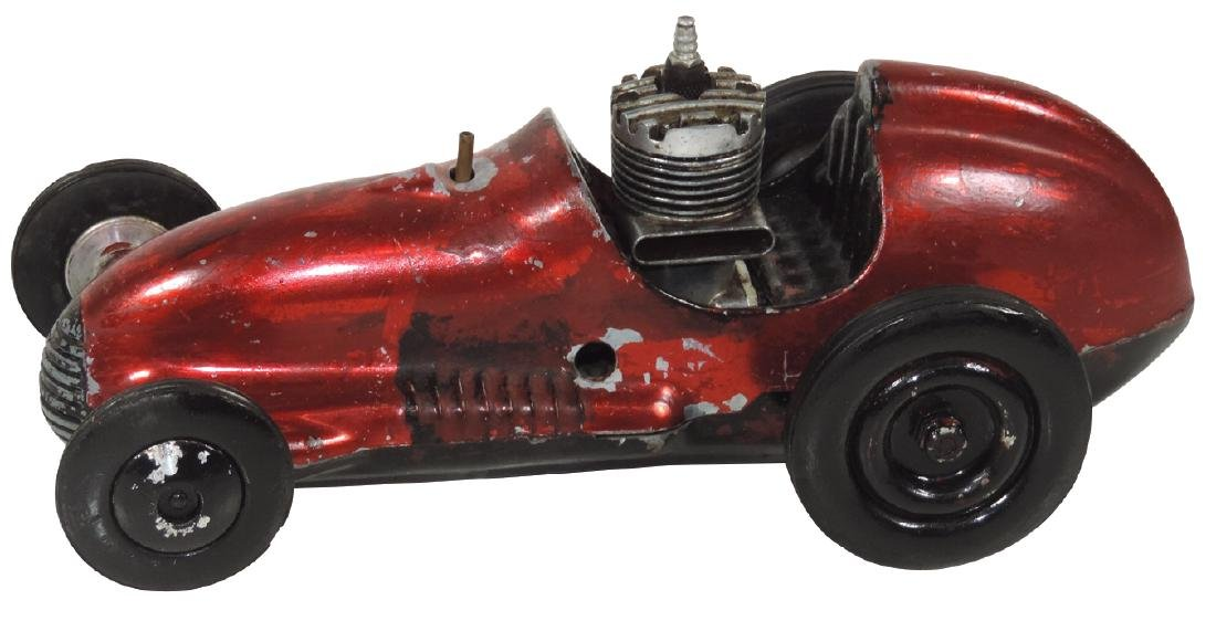 Toy tether race car, Real McCoy, orig red metallic