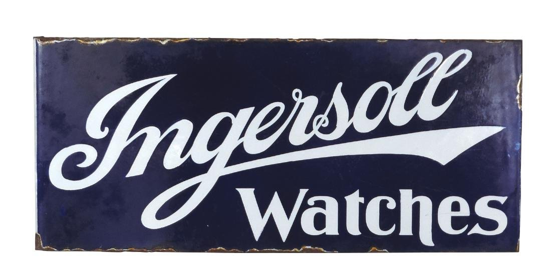 Jewelry store sign, Ingersoll Watches, Rare 2-sided