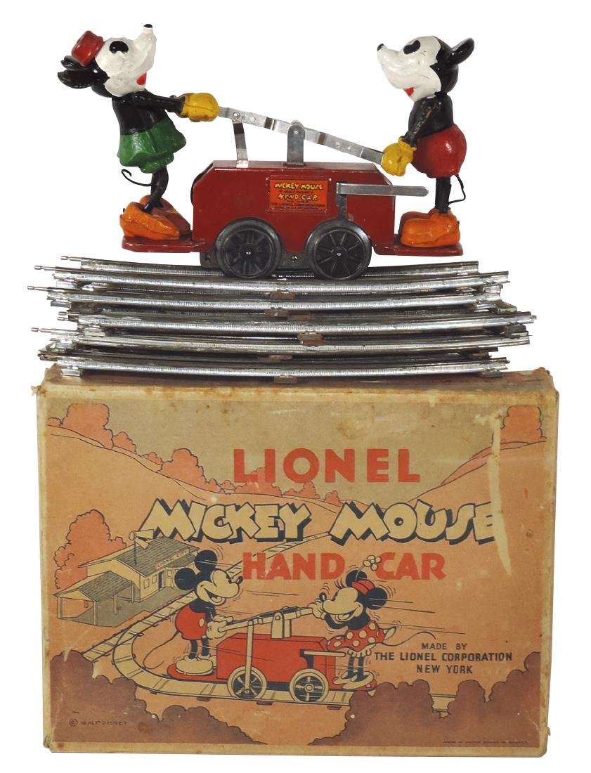 Toy Lionel Mickey Mouse handcar in orig box w/8