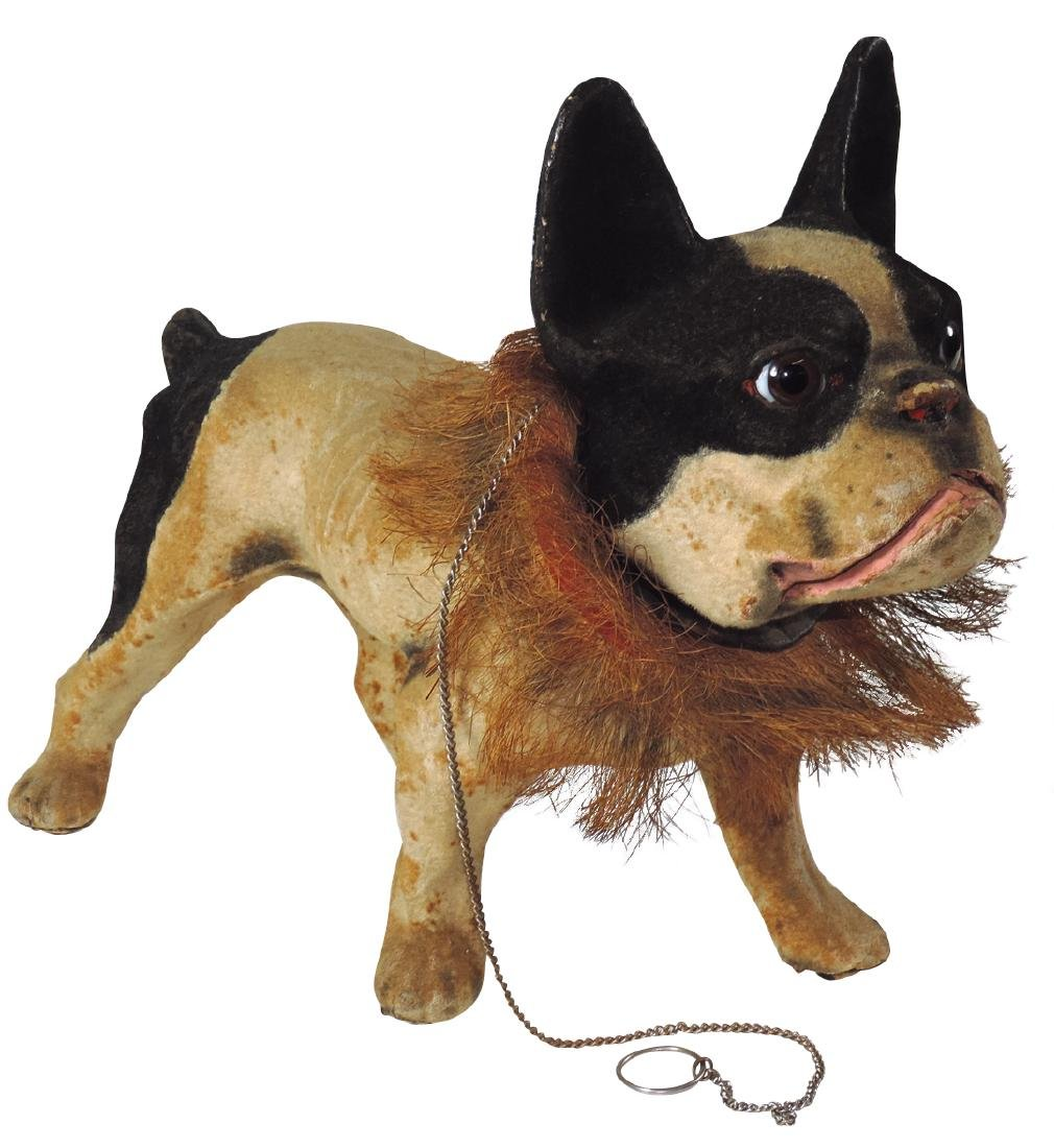 Toy French growler bulldog pull toy, plush covered - 2