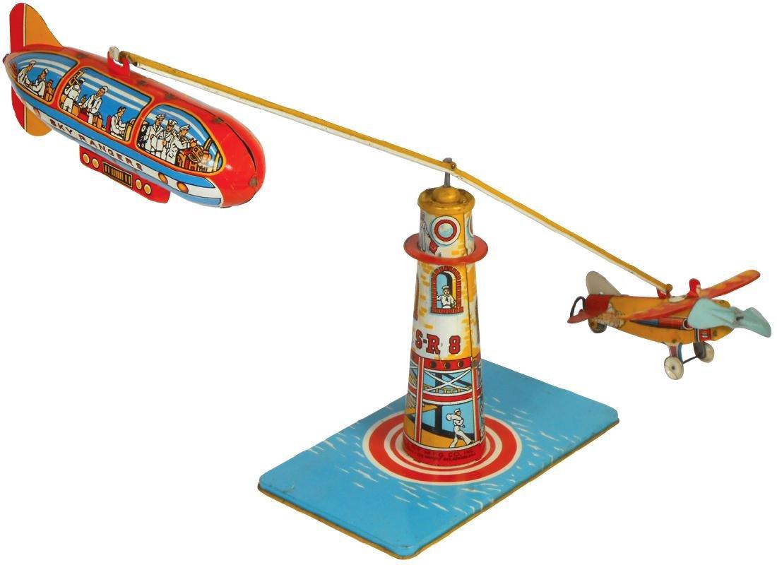 Toy Unique Art Sky Rangers, litho on tin windup, VG/Exc