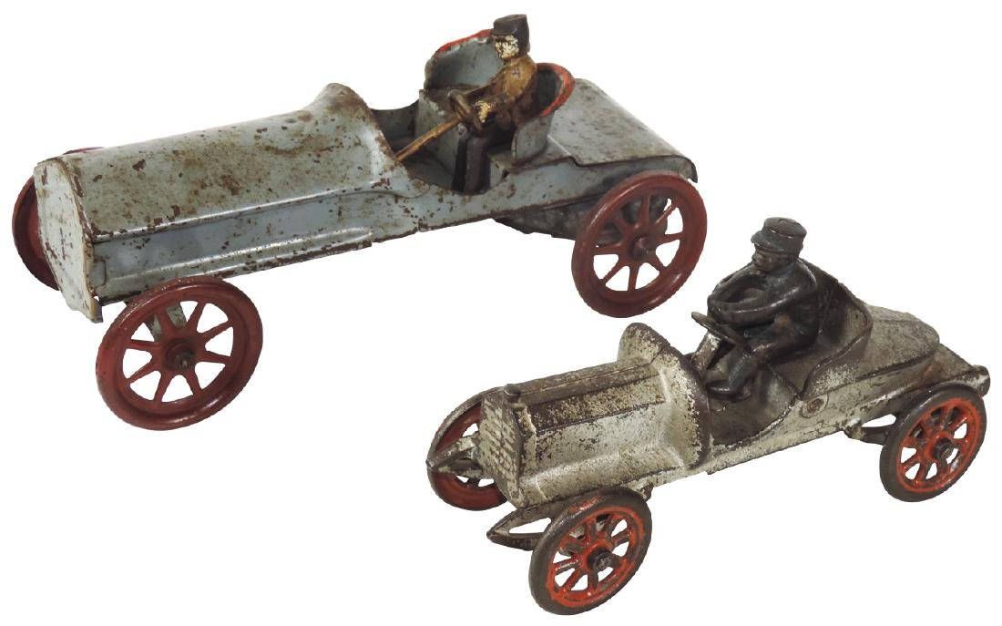 Toy cars (2), cast iron boat tail speedster w/driver,