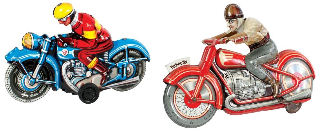 Toy motorcycles (2), tin windup & friction, larger
