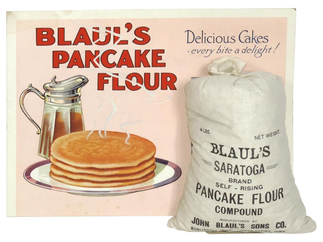 Country store counter display, Blaul's Pancake Flour,